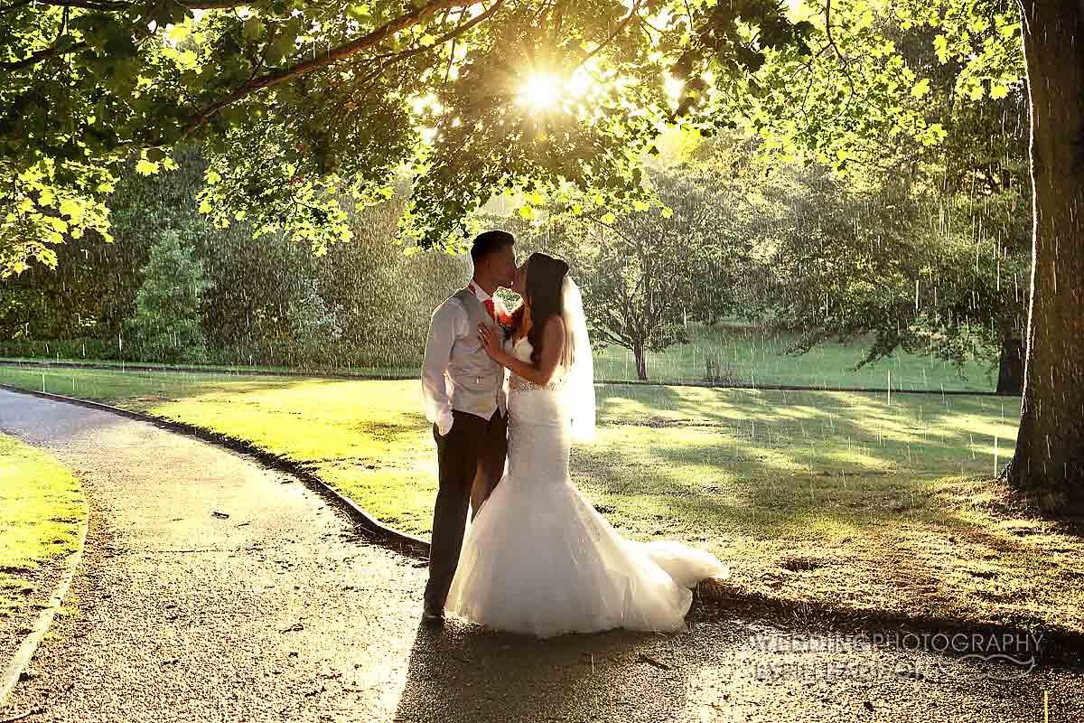 Leicester wedding rain Brooksby Hall